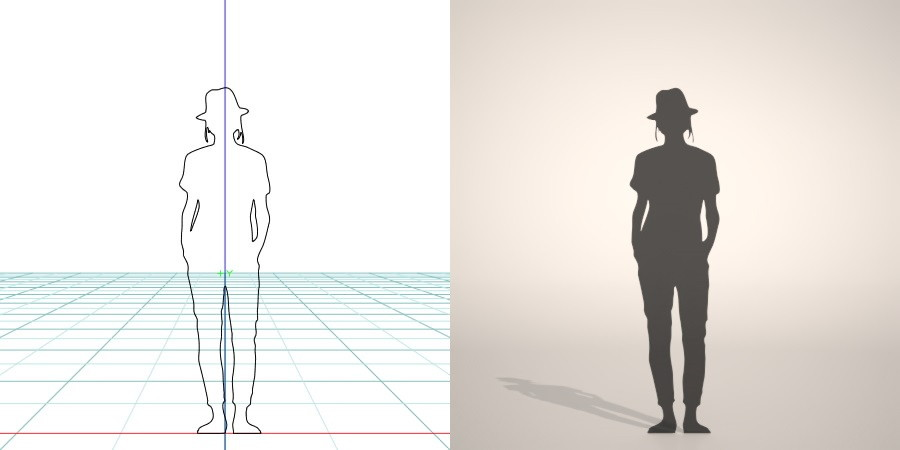 formZ 3D silhouette woman female lady hut クロップドパンツ cropped pants 帽子をかぶった女性のシルエット
