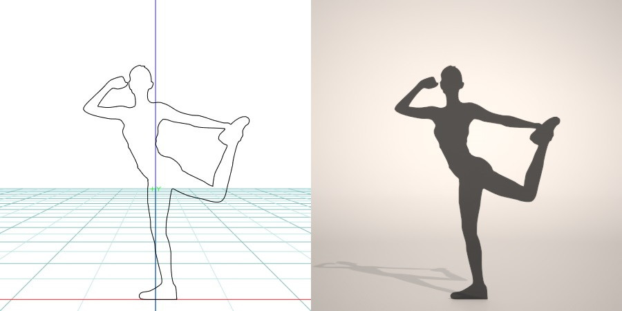 formZ 3D silhouette woman female lady gym フィットネス fitness stretch 運動 エクセサイズ exercise ストレッチ体操をする女性のシルエット