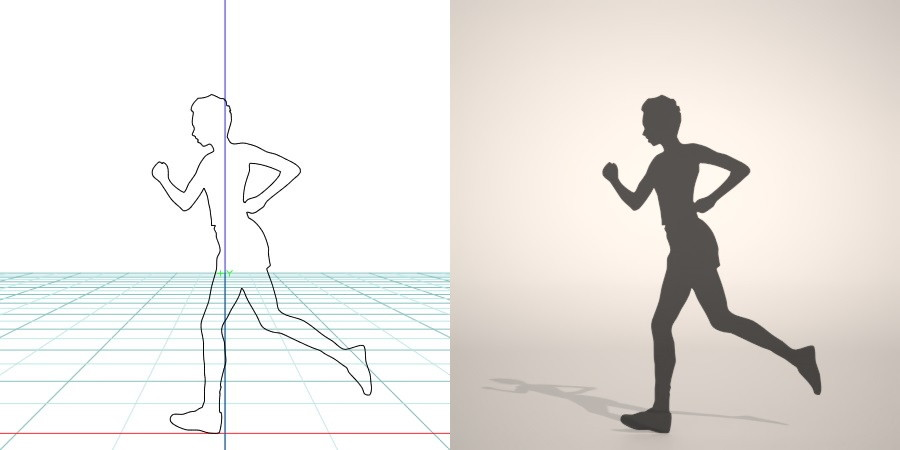 フリー素材 formZ 3D silhouette woman female lady ランニング running Jogging ジョガー Jogger ジョギングをする女性のシルエット