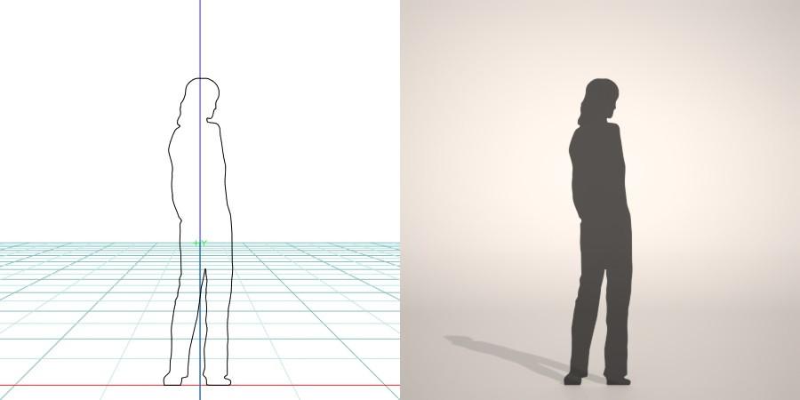 フリー素材 formZ 3D silhouette woman female lady ストレートパンツを穿いた女性のシルエット