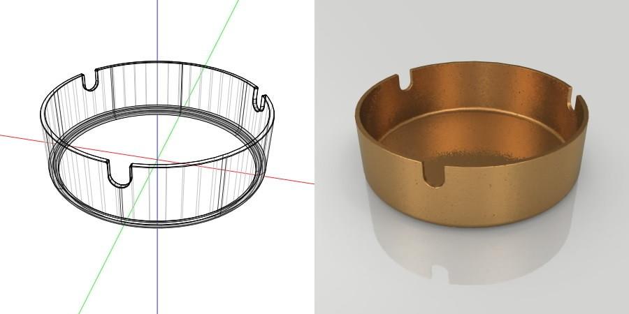 フリー素材 formZ 3D インテリア interior 雑貨 miscellaneous goods 茶色い金属の灰皿 ashtray