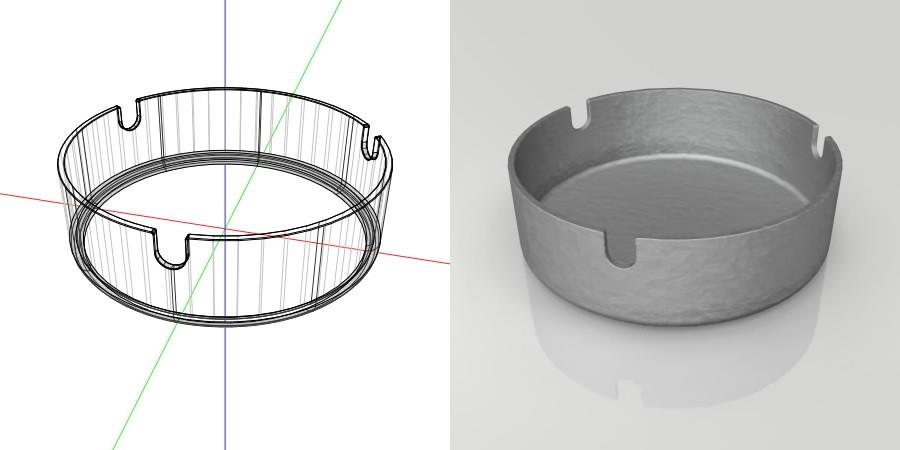 フリー素材 formZ 3D インテリア interior 雑貨 miscellaneous goods 灰色の金属の灰皿 ashtray