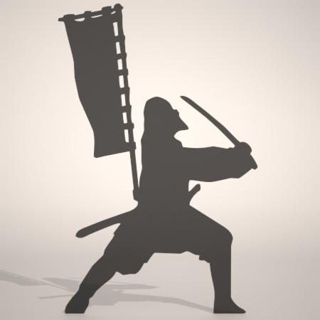 formZ 3D silhouette man 侍 士 さむらい samurai 武士 日本刀 旗指 旗差 ハタサシ 旗手 旗持ち 合戦場で主の旗を持って供奉する武士のシルエット