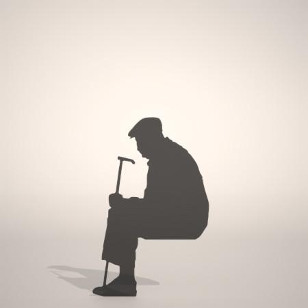 formZ 3D silhouette 男性 man 座る 杖を手に持って腰かける老人のシルエット