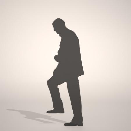 フリー素材 formZ 3D silhouette 男性 man 座る 階段を上る初老の男性のシルエット