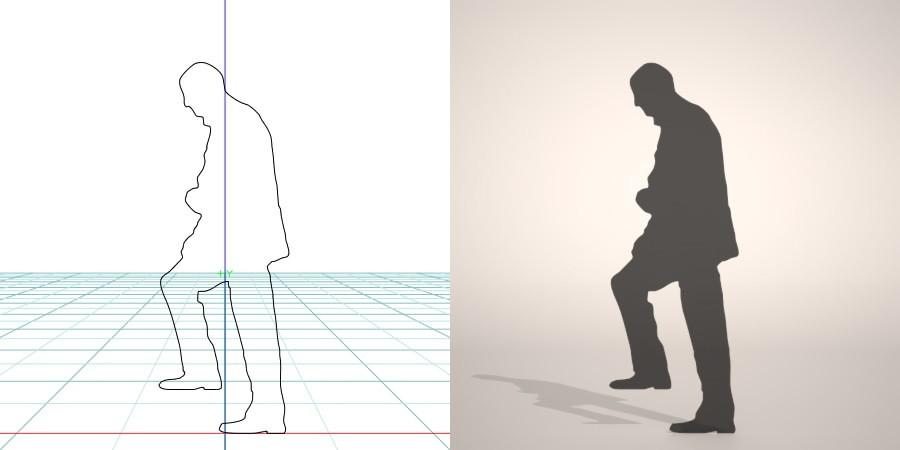 フリー素材 formZ 3D silhouette 男性 man 階段を上る初老の男性のシルエット