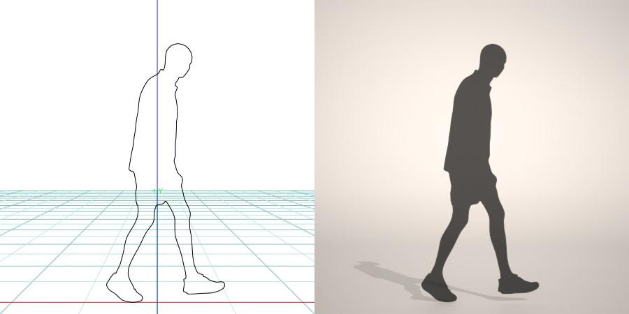 フリー素材 formZ 3D silhouette man ハーフパンツ shorts 短パンを穿いて歩く坊主頭の男性のシルエット