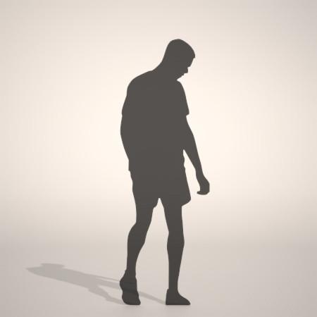 フリー素材 formZ 3D silhouette man ハーフパンツ shorts 短パンを穿いた男性のシルエット