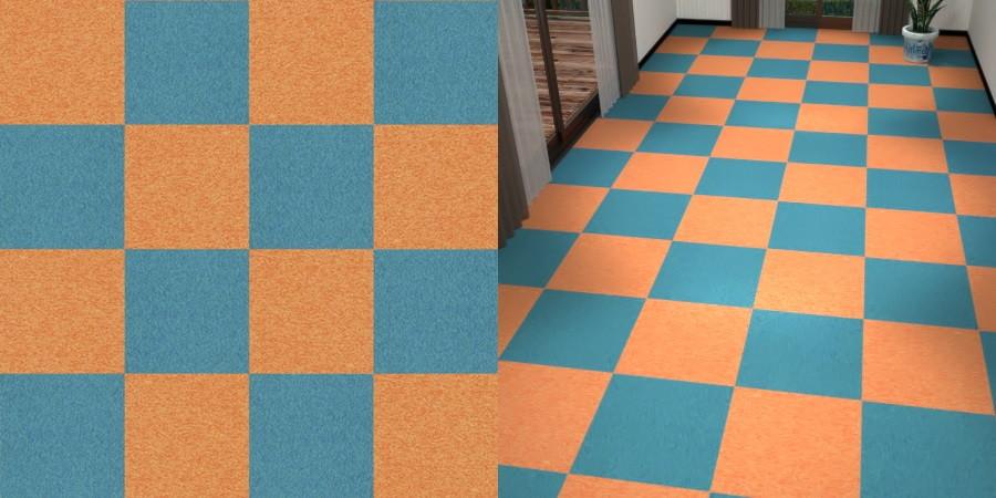 フリーデータ,2D,テクスチャー,texture,JPEG,タイルカーペット,tile,carpet,青,ブルー,blue,オレンジ色,橙,オレンジ色,orange,市松張り,2色市松