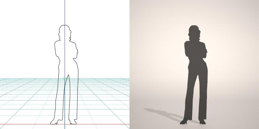 フリー素材 formZ 3D silhouette woman female lady 腕組みをして立つ女性のシルエット
