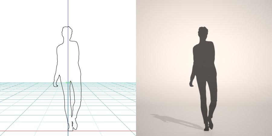 フリー素材 formZ 3D silhouette woman female lady skinny pants スキニーパンツを穿いたのシルエット