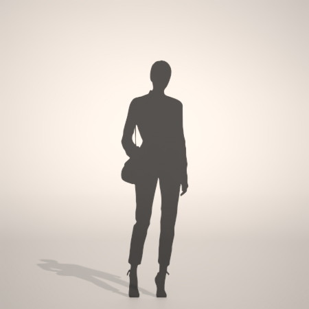 フリー素材 formZ 3D silhouette woman female lady ジーパン denim jeans パンプス pumps ショルダーバッグを持った女性のシルエット