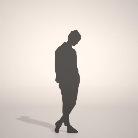 フリー素材 formZ 3D silhouette woman female lady うつむく 俯く うつむく女性のシルエット