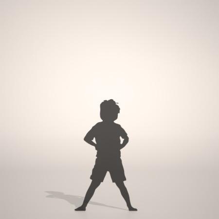 フリー素材 formZ 3D silhouette 子供 child 少年 boy 仁王立ちする男の子のシルエット