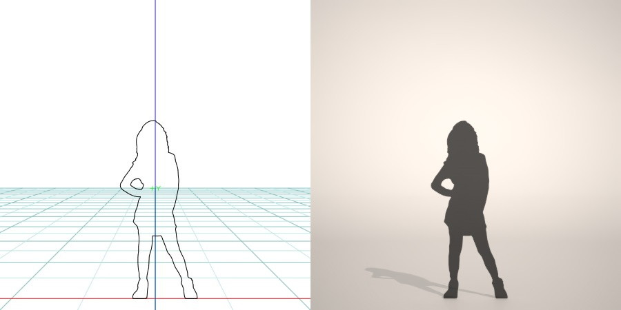 フリー素材 formZ 3D silhouette 子供 child 少女 girl ポーズをとる女の子のシルエット