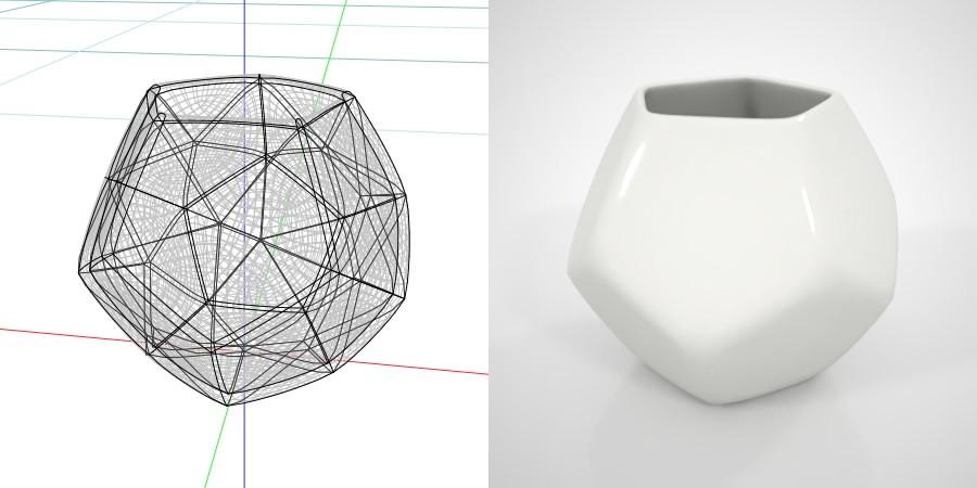フリー素材 formZ 3D インテリア interior 雑貨 miscellaneous goods 正12面体の白い植木鉢 フラワーポット flowerpot