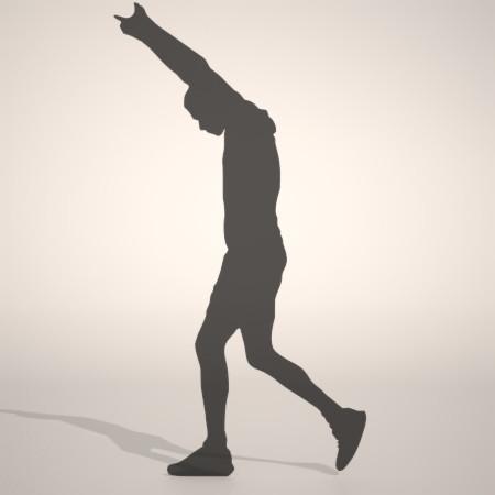 フリー素材 formZ 3D silhouette man ハーフパンツ shorts 短パンを穿いてストレッチをする男性のシルエット