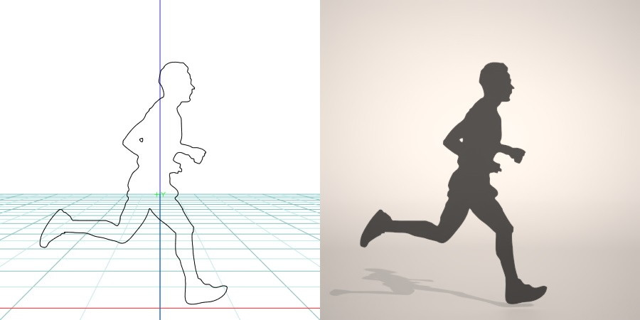 フリー素材 formZ 3D silhouette man 走る running ジョギング Jogging ジョガー Jogger 男性 マラソンランナーのシルエット 【無料・商用可】3D CADデータ フリーダウンロードサイト丨digital-architex.com