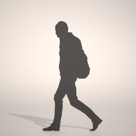無料 商用可能 フリー素材 formZ 3D silhouette man ruck sack bag walk リュックを背負った歩く男性のシルエット
