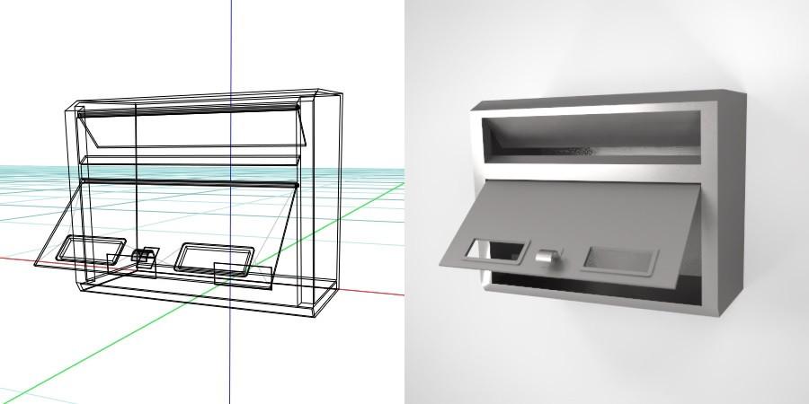 壁掛けの郵便受け(シルバー色)の3D素材丨エクステリア ポスト丨無料 商用可能 フリー素材 フリーデータ丨データ形式はformZ ・3ds・objファイルです