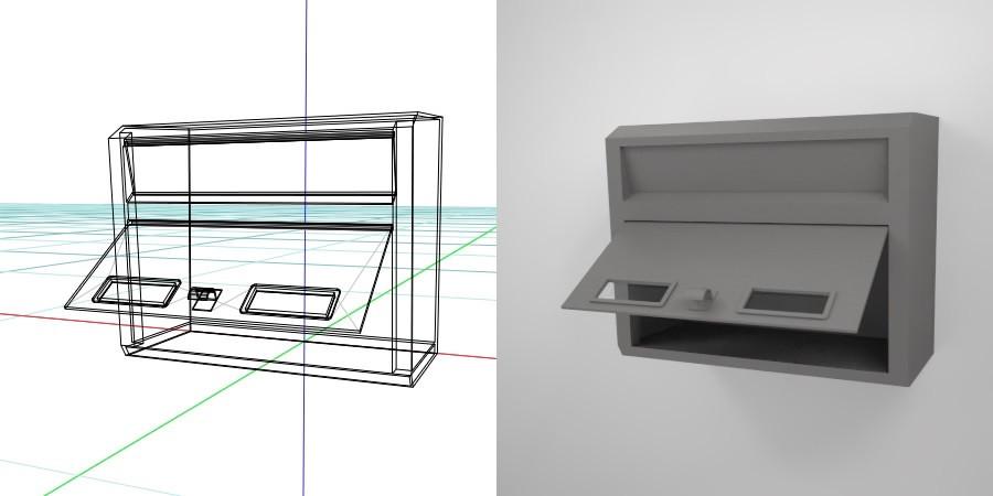 無料 商用可能 フリー素材 formZ 3D エクステリア exterior ポスト post 壁掛けの郵便受け