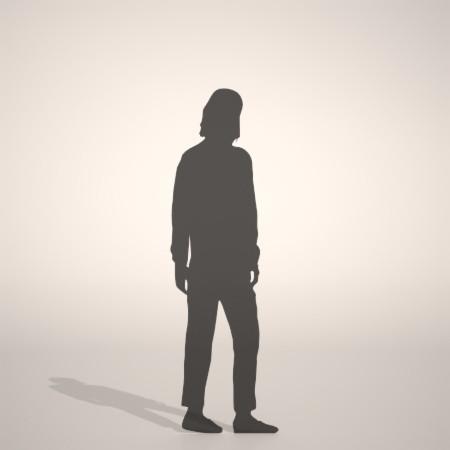 フリー素材 formZ 3D silhouette woman female lady chino pants チノパンを穿いた女性のシルエット