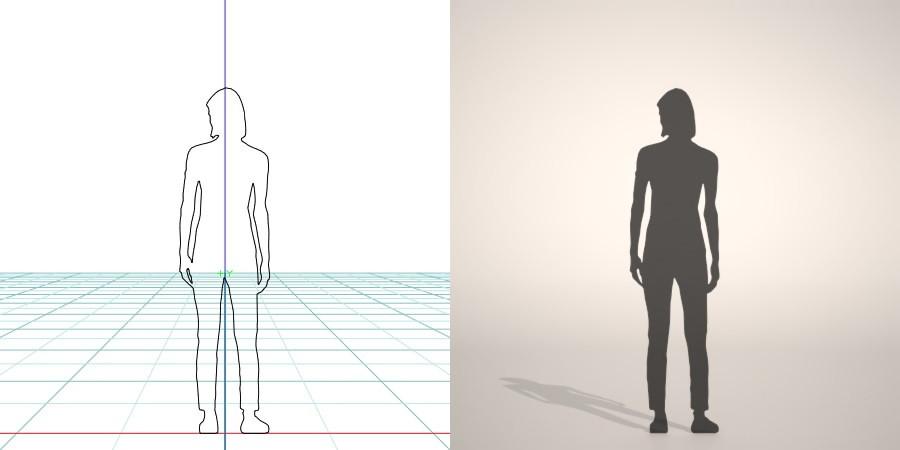 無料 商用可能 フリー素材 formZ 3D silhouette woman female lady chino pants チノパンを穿いた女性のシルエット