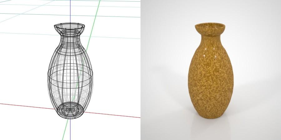 無料 商用可能 フリー素材 formZ 3D インテリア interior 食器 tableware sake pitcher とっくり 黄色い模様のある2合の徳利