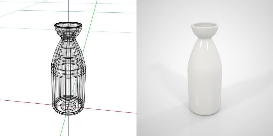 無料,商用可能,フリー素材,formZ,3D,インテリア,interior,食器,tableware,sake pitcher,とっくり,白い1合の徳利