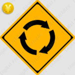 2D,illustration,JPEG,png,traffic signs,マーク,道路標識,切り抜き画像,ロータリーありの交通標識のイラスト,警戒標識,矢印,回転