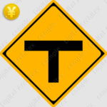 2D,illustration,JPEG,png,traffic signs,マーク,道路標識,切り抜き画像,T形道路交差点ありの交通標識のイラスト,警戒標識,T字路