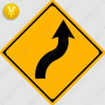 2D,illustration,JPEG,png,traffic signs,マーク,道路標識,切り抜き画像,右背向屈曲ありの交通標識のイラスト,警戒標識,矢印,カーブ