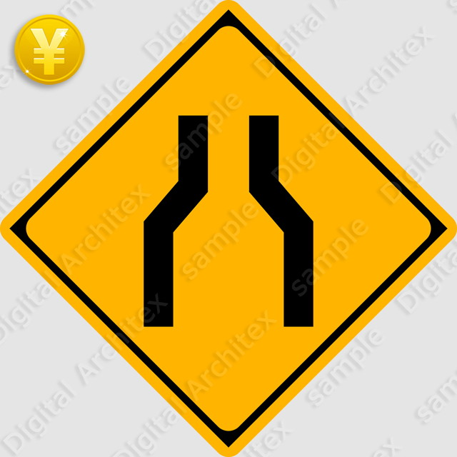2D,illustration,JPEG,png,traffic signs,マーク,道路標識,切り抜き画像,幅員減少の交通標識のイラスト,警戒標識