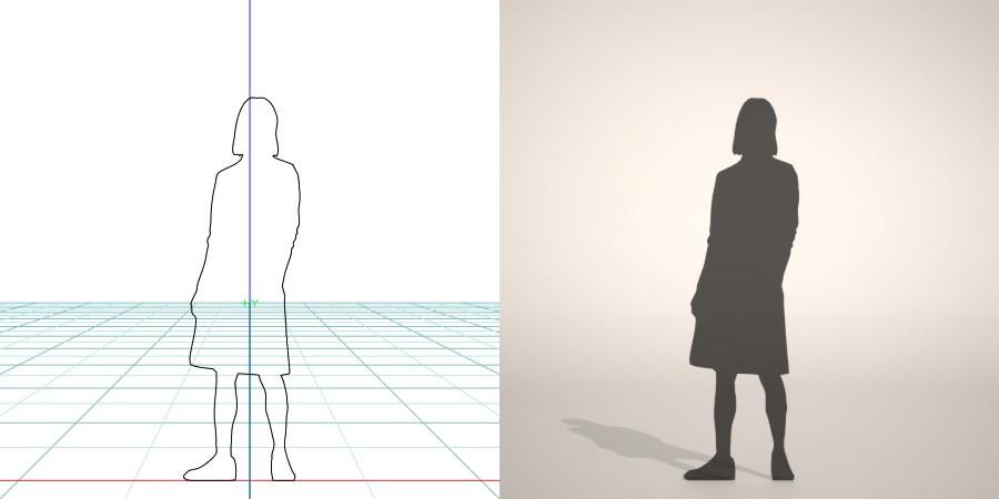フリー素材 formZ 3D silhouette woman female lady skirt スカートを穿いた女性のシルエット
