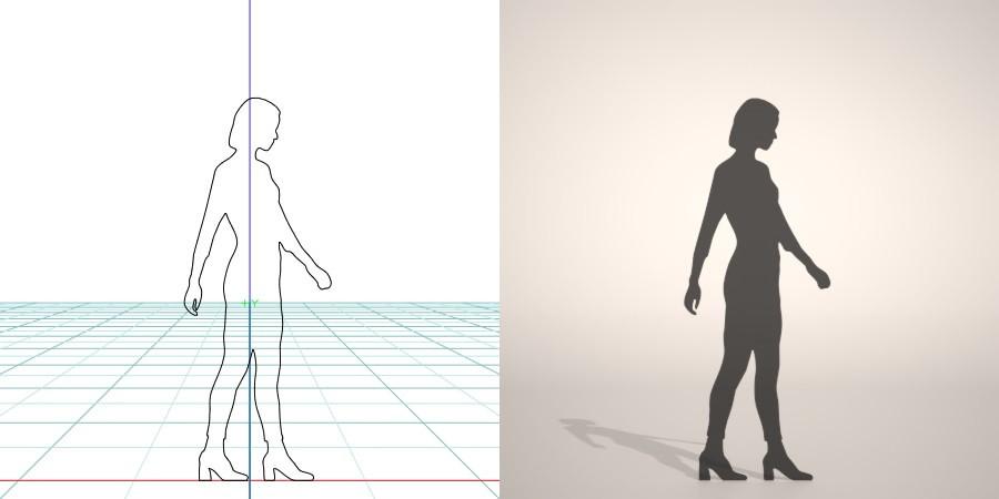 無料,商用可能,フリー素材,formZ,3D,silhouette,woman,female,lady,libregins pants,リブレギンスパンツを穿いた女性のシルエット