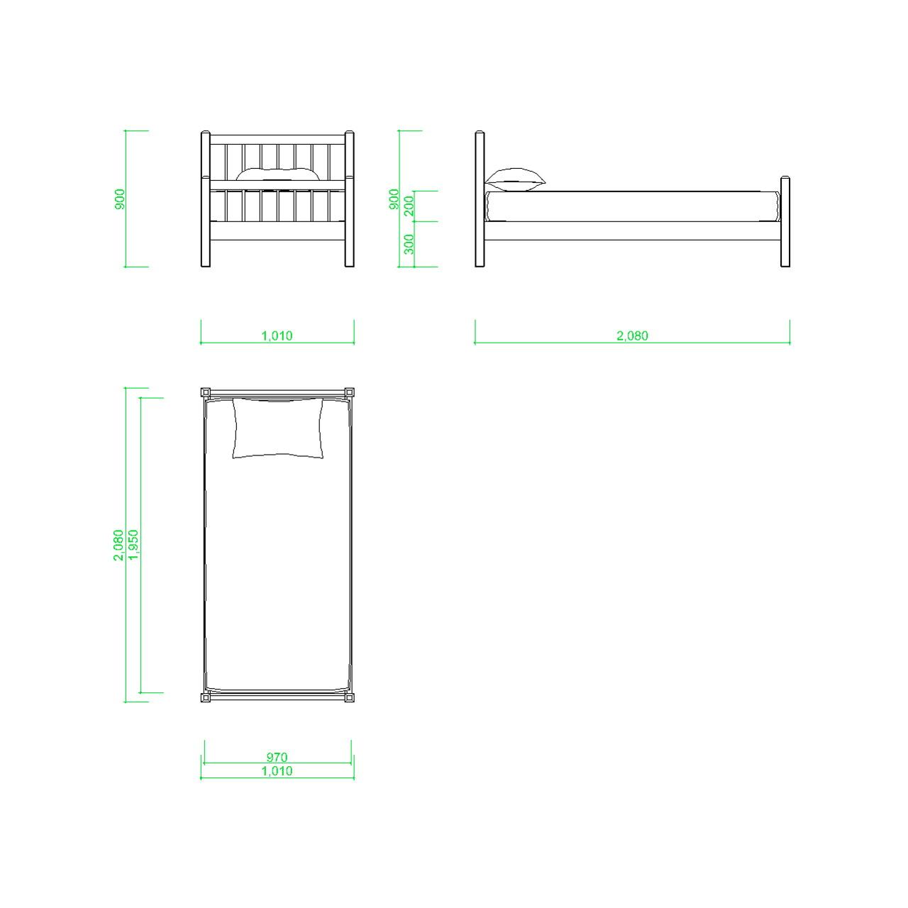 シングルサイズのベッドの2DCAD部品,無料,商用可能,フリー素材,フリーデータ,AUTOCAD,DWG,DXF,インテリア,interior,家具,furniture,bed,single