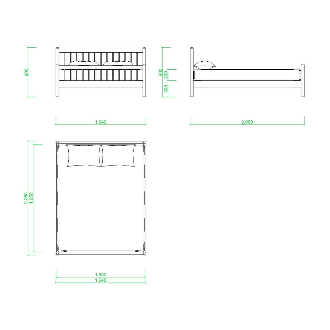 クイーンサイズのベッドの2DCAD部品,無料,商用可能,フリー素材,フリーデータ,AUTOCAD,DWG,DXF,インテリア,interior,家具,furniture,bed,queen