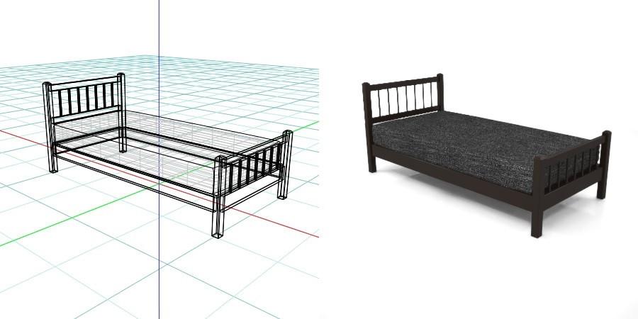 黒い シングルサイズのベッド,無料,商用可能,フリー素材,formZ,3D,インテリア,interior,家具,furniture,bed,single