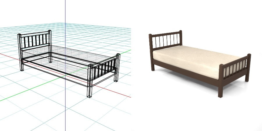 茶色の シングルサイズのベッド,無料,商用可能,フリー素材,formZ,3D,インテリア,interior,家具,furniture,bed,single