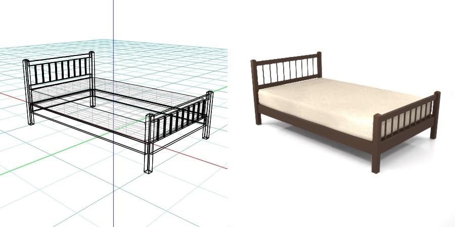 茶色の セミダブルサイズのベッド,無料,商用可能,フリー素材,formZ,3D,インテリア,interior,家具,furniture,bed,Semi double