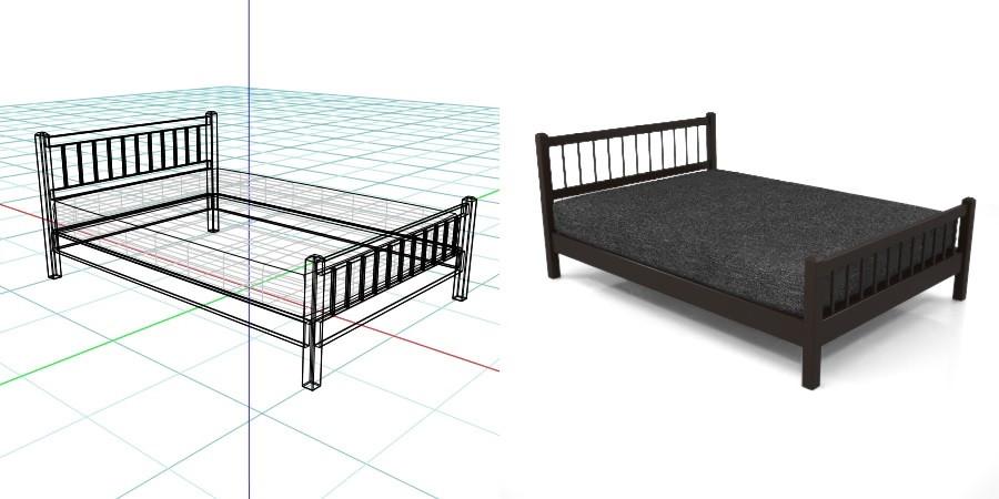黒い ダブルサイズのベッド,無料,商用可能,フリー素材,formZ,3D,インテリア,interior,家具,furniture,bed,double