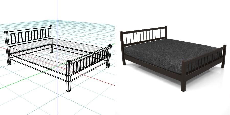 黒い クイーンサイズのベッド,無料,商用可能,フリー素材,formZ,3D,インテリア,interior,家具,furniture,bed,queen