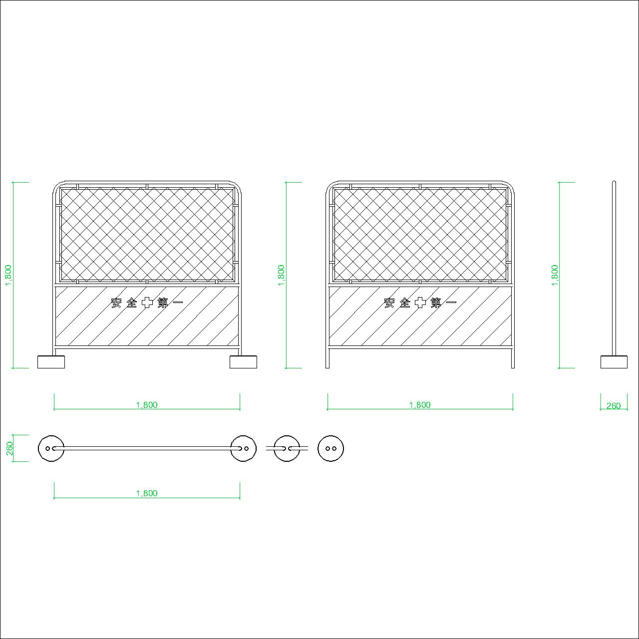 ガードフェンスの2DCAD部品丨建設工事 仮設材 安全区画丨無料 商用可能 フリー素材 フリーデータ AUTOCAD DWG DXF