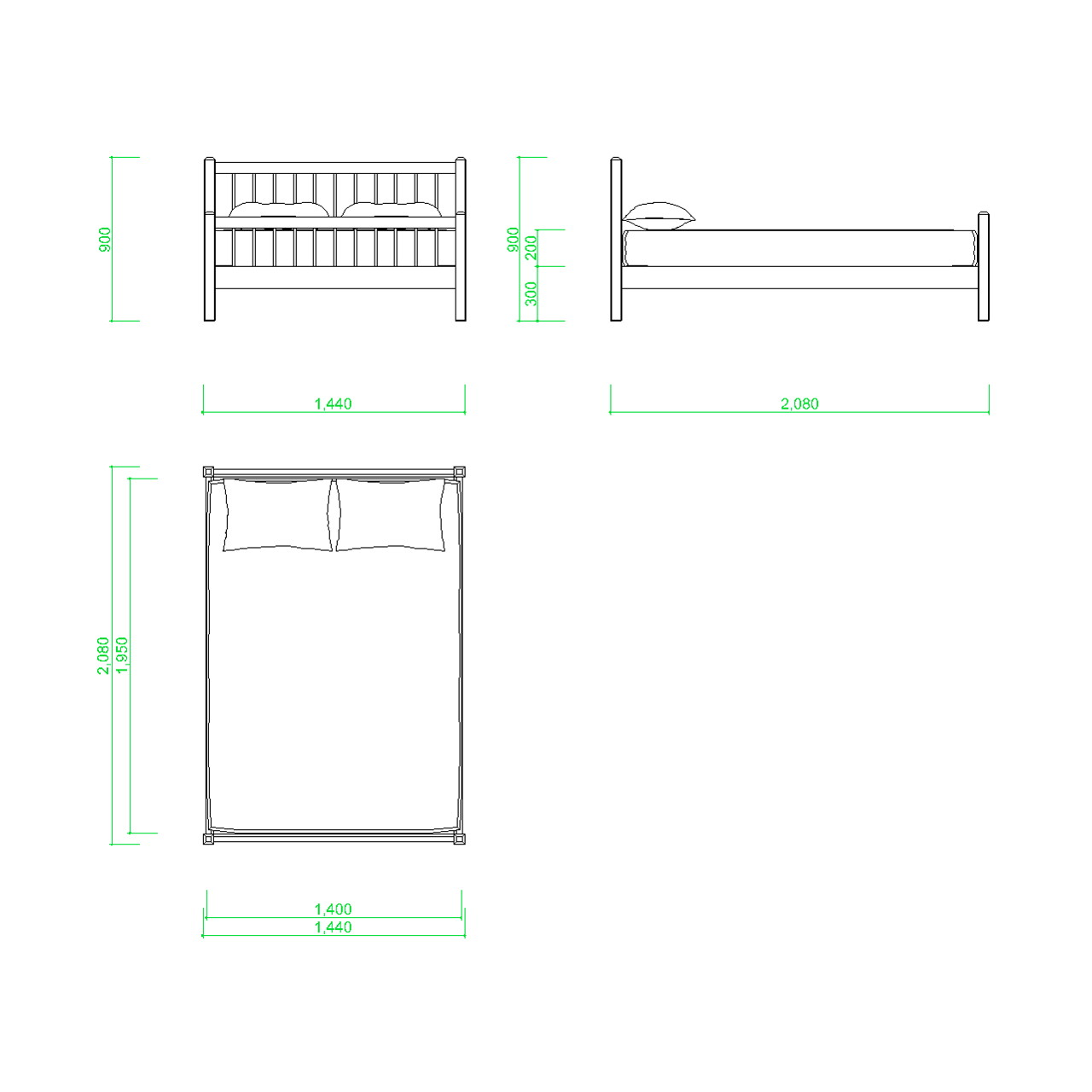 ダブルサイズのベッドの2DCAD部品,無料,商用可能,フリー素材,フリーデータ,AUTOCAD,DWG,DXF,インテリア,interior,家具,furniture,bed,double