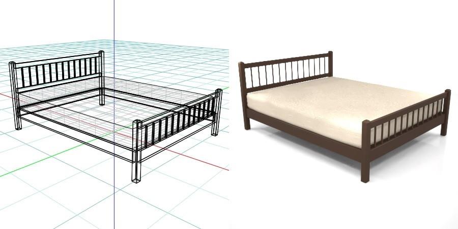 茶色の クイーンサイズのベッド,無料,商用可能,フリー素材,formZ,3D,インテリア,interior,家具,furniture,bed,queen