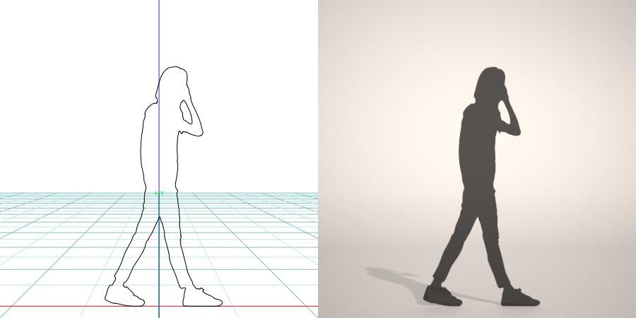 携帯電話で話しながら歩く女性の3D素材丨シルエット 人間 女性丨無料 商用可能 フリー素材 フリーデータ丨データ形式はformZ ・3ds・objファイルです
