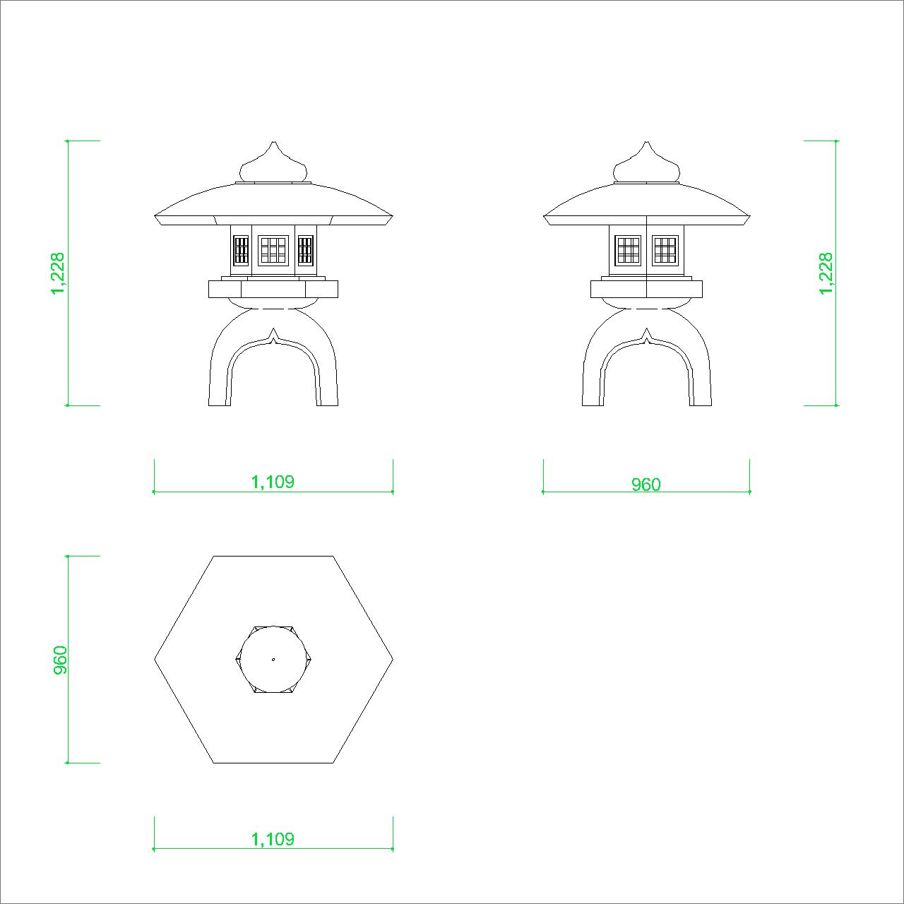 石灯籠の2DCAD部品丨エクステリア 日本庭園 寸法丨無料 商用可能 フリー素材 フリーデータ AUTOCAD DWG DXF