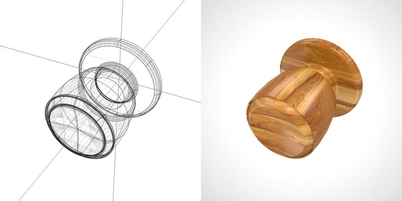 木目の入ったドアノブの3DCADデータ丨建築 建具金物 ドアノブ丨無料 商用可能 フリー素材 フリーデータ丨データ形式はformZ ・3ds・objファイルです