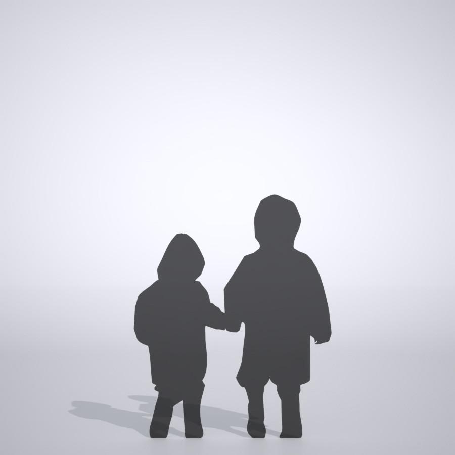 雨具を着て 手をつないで歩く幼い兄弟の3DCAD素材丨シルエット 人間 子供丨無料 商用可能 フリー素材 フリーデータ丨データ形式はformZ ・3ds・objファイルです