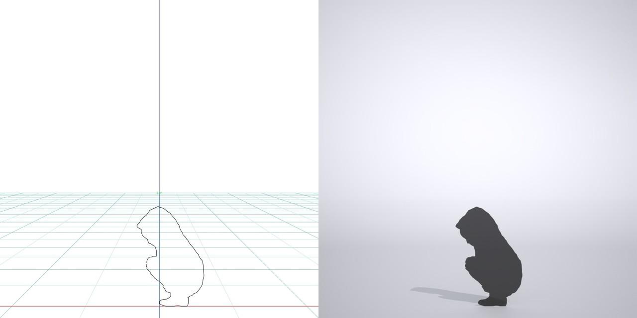 雨合羽を着た しゃがんだ子供の3DCAD素材丨シルエット 人間 子供丨無料 商用可能 フリー素材 フリーデータ丨データ形式はformZ ・3ds・objファイルです|3D CADデータ フリーダウンロードサイト